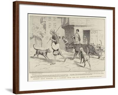 Street Dogs Barking at a Dancing Bear and His Keeper in Constantinople--Framed Giclee Print