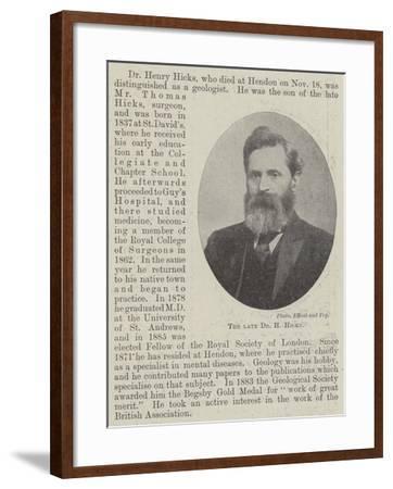 The Late Dr H Hicks--Framed Giclee Print