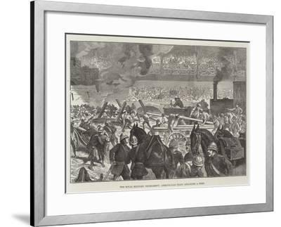 The Royal Military Tournament, Armour-Clad Train Attacking a Fort--Framed Giclee Print
