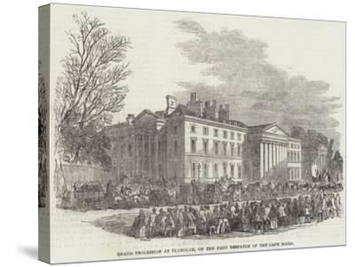 Grand Procession of Plymouth, on the First Despatch of the Cape Mails--Stretched Canvas Print