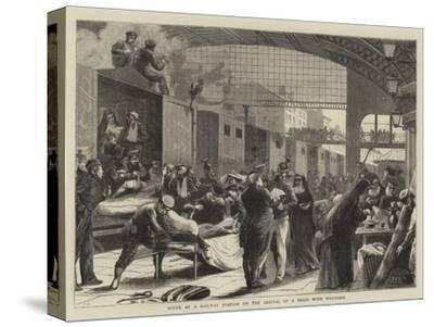 Scene at a Railway Station on the Arrival of a Train with Wounded--Stretched Canvas Print