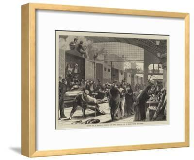 Scene at a Railway Station on the Arrival of a Train with Wounded--Framed Giclee Print