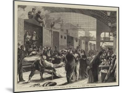 Scene at a Railway Station on the Arrival of a Train with Wounded--Mounted Giclee Print