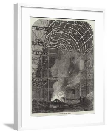 The Great Exhibition Building, the Transept by Night, the Bonfire--Framed Giclee Print