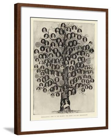 Genealogical Tree of Her Majesty the Queen and Her Descendants--Framed Giclee Print