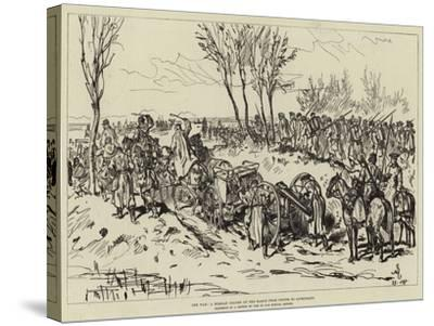 The War, a Russian Column on the March from Chotim to Liptschany--Stretched Canvas Print