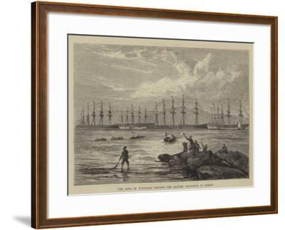 The King of Portugal Visiting the British Squadron at Lisbon--Framed Giclee Print