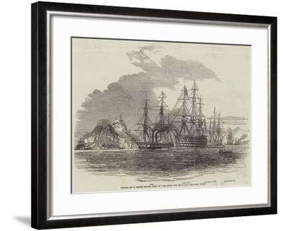 Admiral Sir W Parker Leaving Corfu, in The Howe, for Cephalonia--Framed Giclee Print