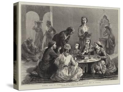 Harem Life in Turkey, I, the Family of a Turkish Bey at Dinner--Stretched Canvas Print