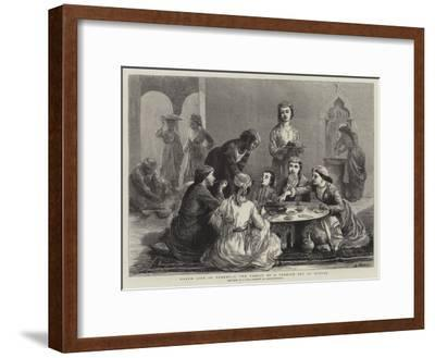 Harem Life in Turkey, I, the Family of a Turkish Bey at Dinner--Framed Giclee Print