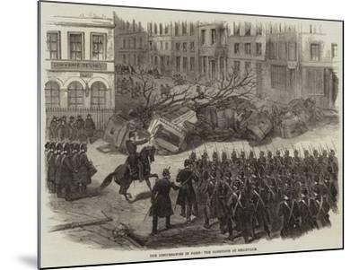 The Disturbances in Paris, the Barricade at Belleville--Mounted Giclee Print