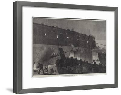 Launch of the Northumberland, Fixing the Camels at Night--Framed Giclee Print