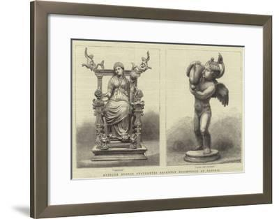 Antique Bronze Statuettes Recently Discovered at Pompeii--Framed Giclee Print