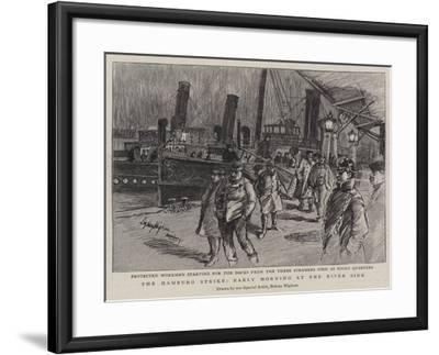 The Hamburg Strike, Early Morning at the River Side--Framed Giclee Print