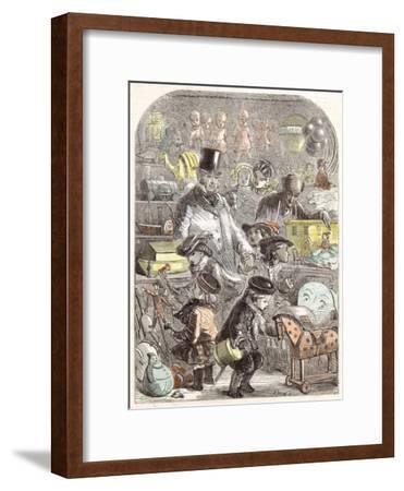 New Year's Gifts, the Toyshop, Jackson Children, 1860--Framed Giclee Print