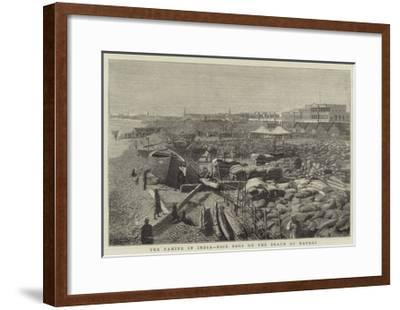 The Famine in India, Rice Bags on the Beach at Madras--Framed Giclee Print