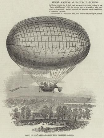 Ascent of Bell's Aerial Machine, from Vauxhall Gardens--Framed Giclee Print