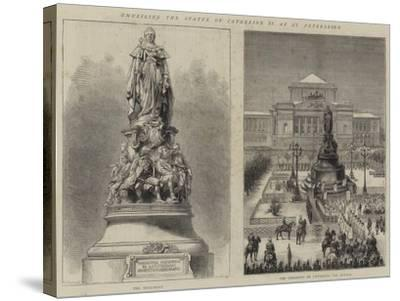 Unveiling the Statue of Catherine II at St Petersburg--Stretched Canvas Print