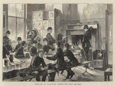 Sketches in Telegraph Street, the Boys' Kitchen--Framed Giclee Print