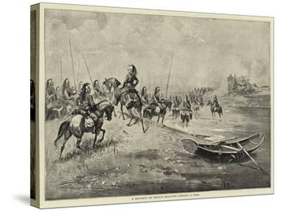 A Regiment of French Dragoons Crossing a Ford--Stretched Canvas Print
