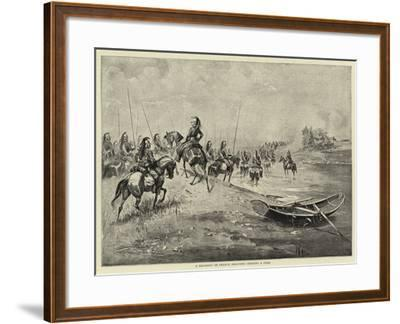 A Regiment of French Dragoons Crossing a Ford--Framed Giclee Print