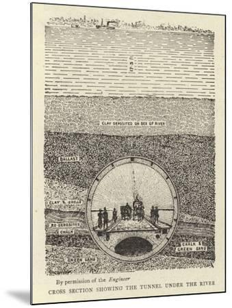 Cross Section Showing the Tunnel under the River--Mounted Giclee Print