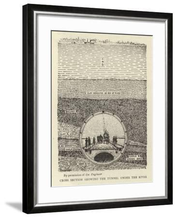 Cross Section Showing the Tunnel under the River--Framed Giclee Print