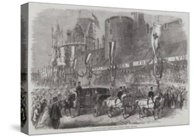 The Royal Party Passing the Curfew Tower, Windsor--Stretched Canvas Print