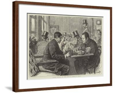 After Lunch in the City, a Game of Chess--Framed Giclee Print