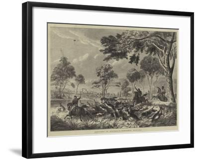 Sketches in Australia, Kangaroo Hunting--Framed Giclee Print