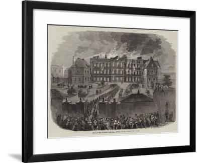 Fire at the General Hospital, Jersey--Framed Giclee Print