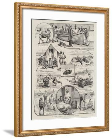Turtle Turning at Kurrachee, India--Framed Giclee Print