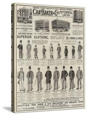 Advertisement, Charles Baker and Co--Stretched Canvas Print