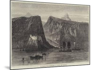 St Helena, with Troop-Ships at Anchor--Mounted Giclee Print