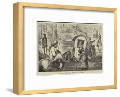 Indian Sketches, Crossing a Nullah--Framed Giclee Print