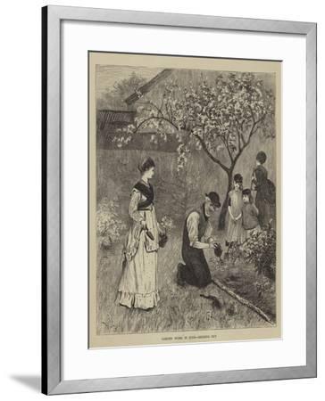 Garden Work in June, Bedding Out--Framed Giclee Print