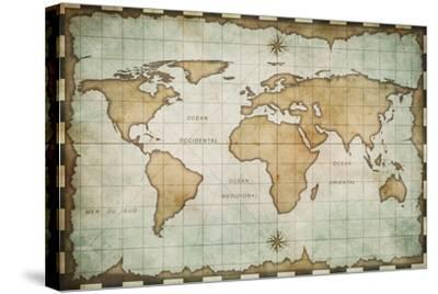 Aged Old World Map-Andrey Kuzmin-Stretched Canvas Print