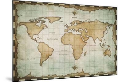 Aged Old World Map-Andrey Kuzmin-Mounted Art Print