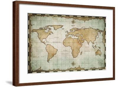 Aged Old World Map-Andrey Kuzmin-Framed Art Print