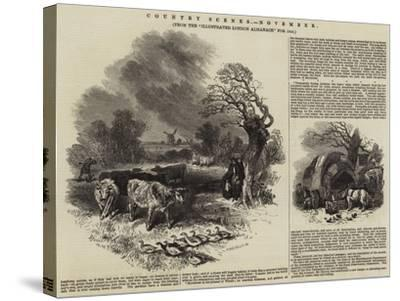 Country Scenes, November--Stretched Canvas Print