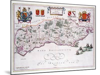 Map of Sussex--Mounted Giclee Print