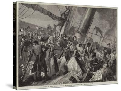 Scene on Board a French Steamer from Havre to Honfleur--Stretched Canvas Print