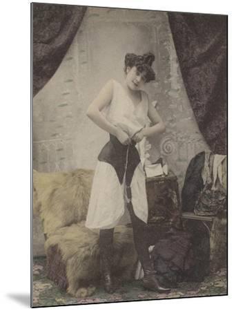 Girl Undoing Her Corset--Mounted Giclee Print