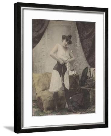 Girl Undoing Her Corset--Framed Giclee Print