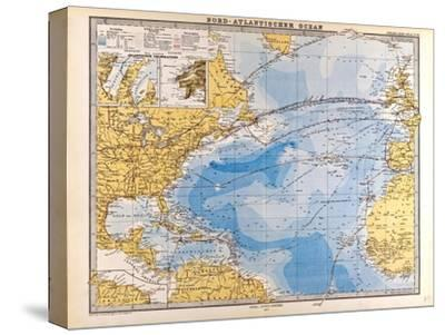 Map of the North Atlantic, 1872--Stretched Canvas Print