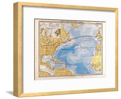 Map of the North Atlantic, 1872--Framed Giclee Print