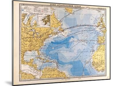 Map of the North Atlantic, 1872--Mounted Giclee Print
