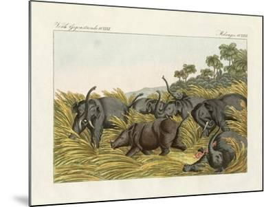 The Fight of the Rhinoceros with the Elefants--Mounted Giclee Print