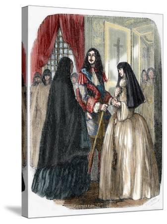 Louis XIV and His Mistress Louise De La Valliere (1644-1710)--Stretched Canvas Print