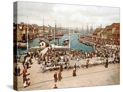 Fisketorget, Bergen, Pub. C.1900--Stretched Canvas Print